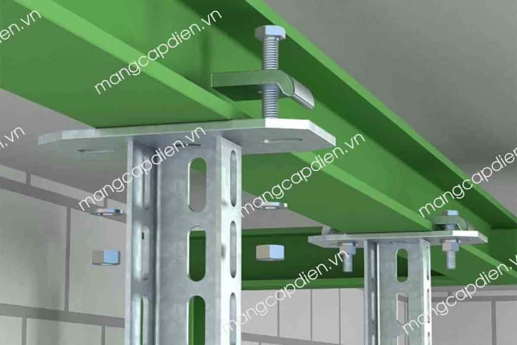Kẹp trực tiếp giá đỡ thang máng cáp vào dầm thép