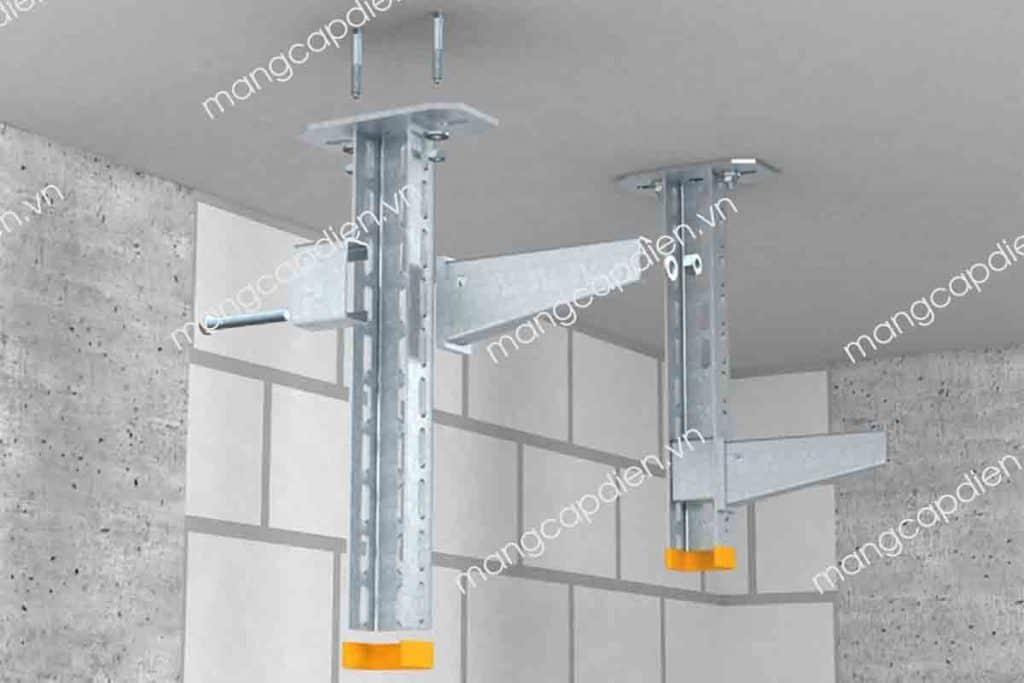 Khung treo trần hệ thống thang máng cáp có miếng đệm